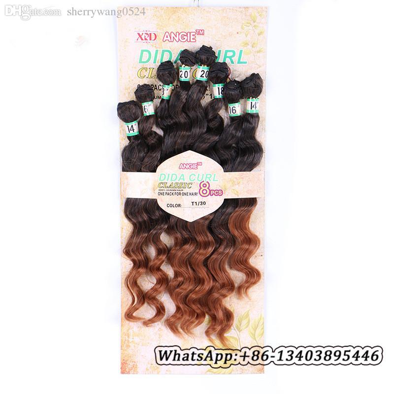 """8pcs / lote Extensiones de cabello de fibra sintética de onda profunda suelta brasileña 14-20 """"trama de cabello rizado suelto trama teñible ombre T1B / # 30 paquetes de cabello ondulado"""