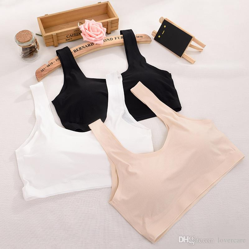 Anti-glittering ice silk breathable hole ladies a piece of no trace wrapped chest chest no steel ring vest sports bra