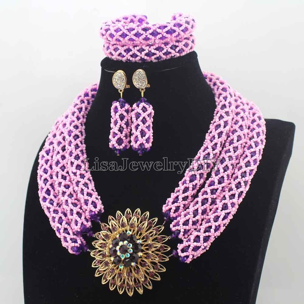 2016 new nigerian baby pinkpurple costume african beads jewelry set indian dubai wedding jewelry