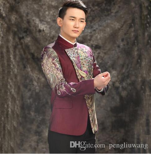 men suits designs stand collar stage costumes for singers men sequin blazer dance clothes jacket star style england punk purple