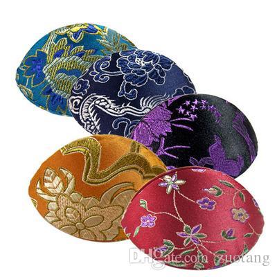 Unieke handgemaakte ring geschenkdoos kleine sieraden munt opbergkoffer Chinese zijde brokaat stof ambachtelijke kartonnen bloemen verpakking 10pcs / lot