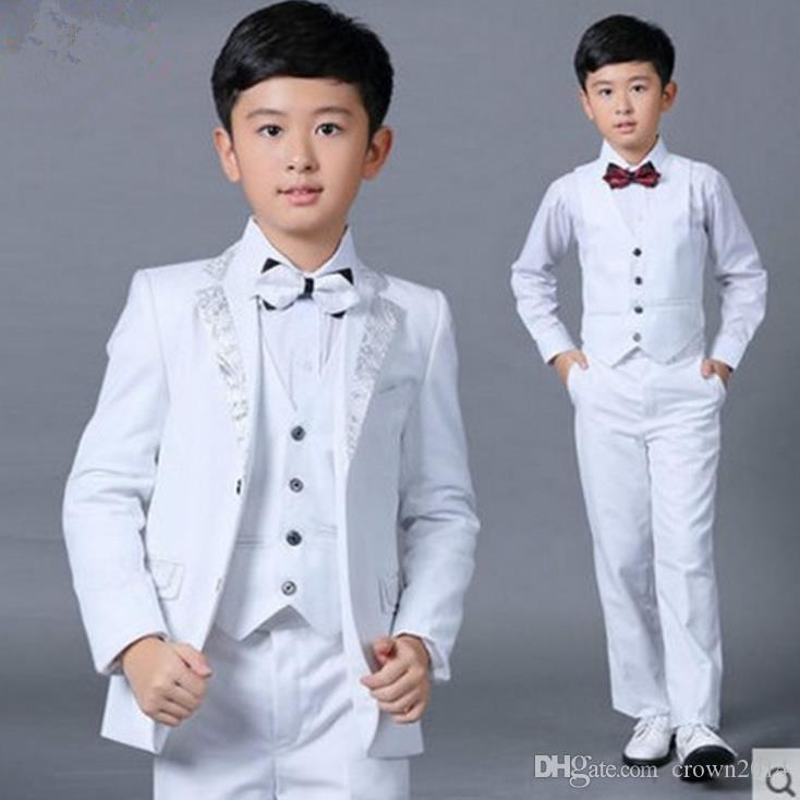 Boys Wedding Suits New Size 2-14 White Boy Suit Formal Party Five Sets Bow Tie Pants Vest Shirt Kids Suits Free Shipping In Stock