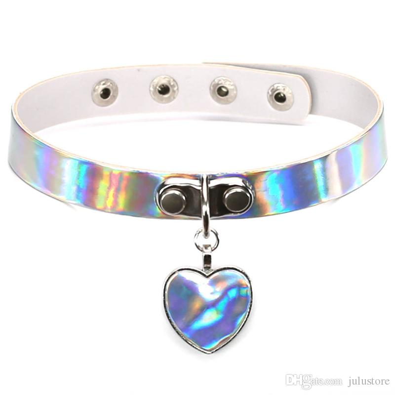 Fashion Laser Necklace heart Gothic Punk Holographic Choker Hologram PU Leather Choker 2017 Collar Necklace Jewelry Bijoux