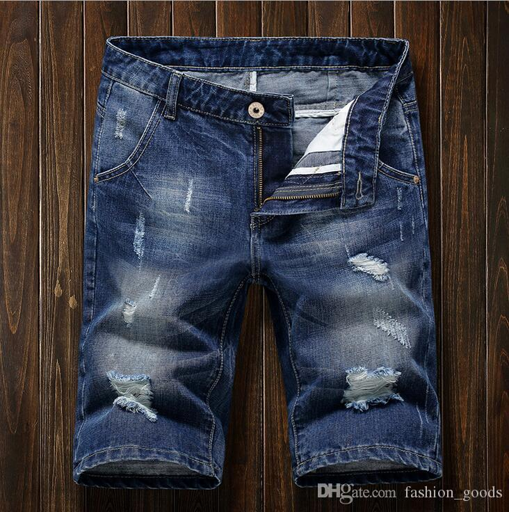 Free shipping Men's denim shorts pants spring and summer holes men's clothing JM003 Men's Jeans