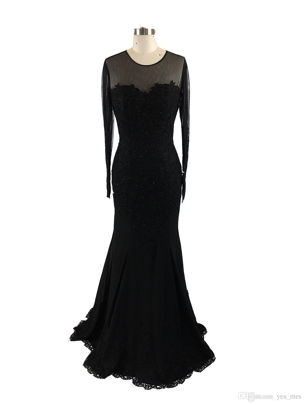 2017 New Sexy Evening Dresses Wear Jewel Neck Long Sleeves Black Lace Appliques Beaded Mermaid Prom Gowns Plus Size Formal Party Dress
