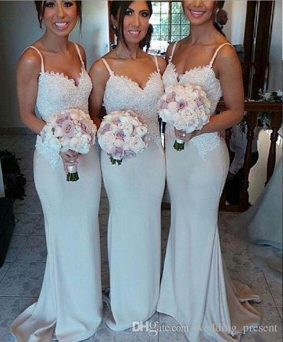 2017 Lace Satin Bridesmaid Dresses Spaghetti Strap Long Maid Of Honor Mermaid Sweep Train Custom Made Wedding Party Gowns