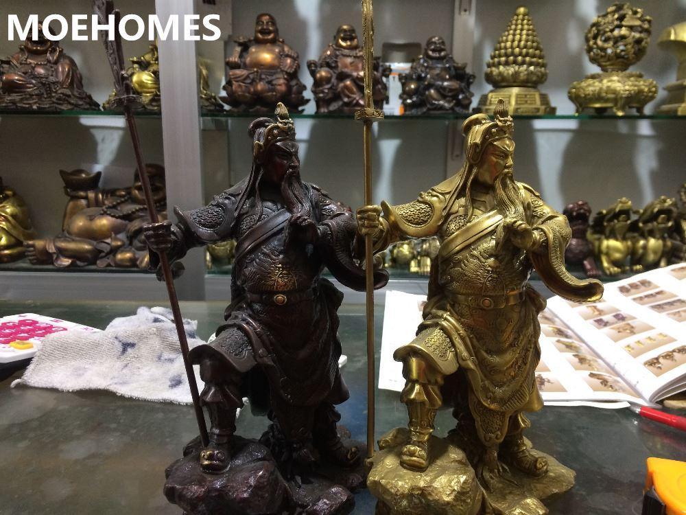 MOEHOMES Laiton dieu martial de la richesse de cuivre joint le duc guan gong statue fengshui bronze seiko métal artisanat décoration