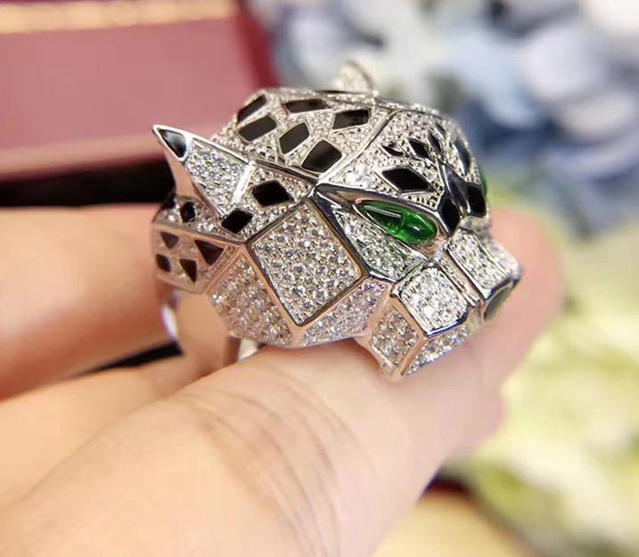 vendita all'ingrosso 925 gioielli in argento sterling pantera anello di lusso completo di zirconi gioielli in argento 925 leopardo anello di design dell'anello di marca