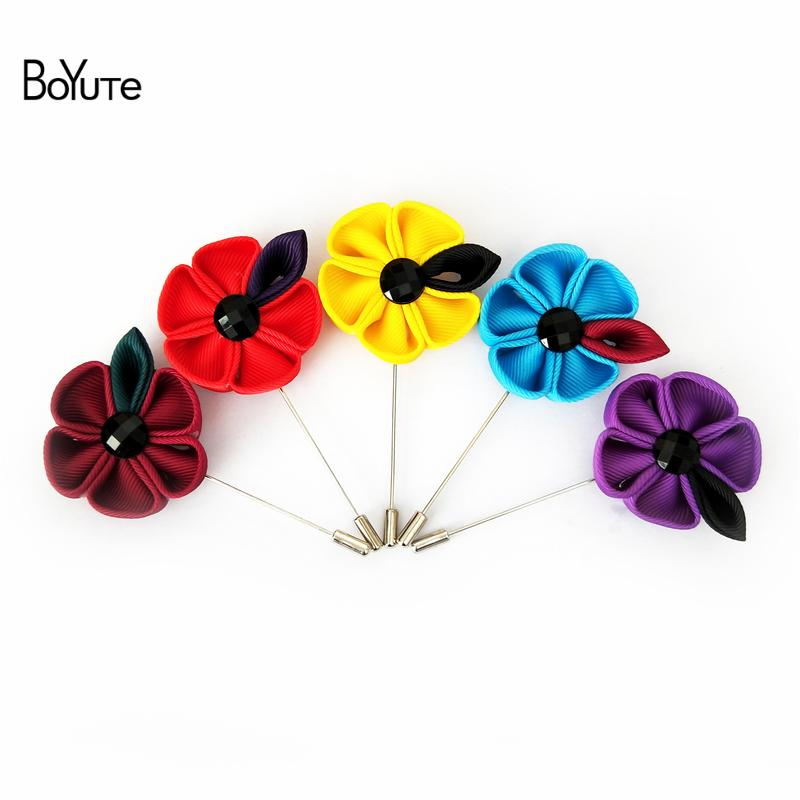 BoYuTe 10 шт. 15 цветов ручной работы цветок брошь Оптовая мода мужчины отворотом Pin свадебные аксессуары рождественские украшения