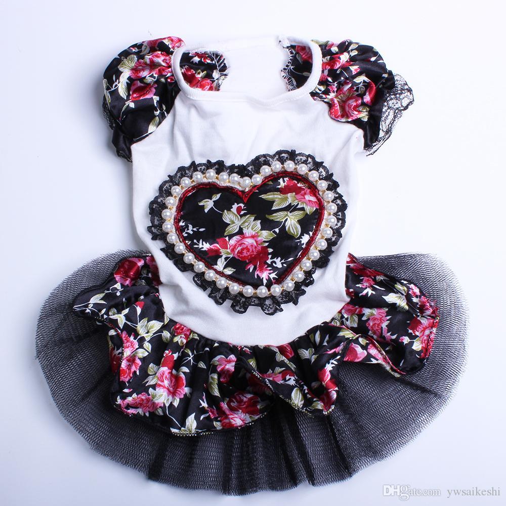 ペット犬プリンセスドレスチュチュスカートフロラレースペットスカート春/夏服5サイズ3色