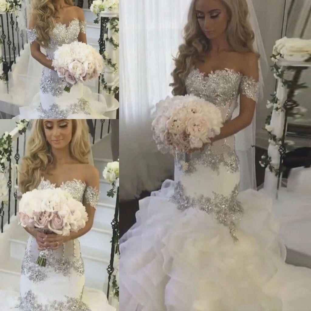 Appliques argento pizzo glamour e lucentezza sirena da sposa abito da sposa 2019 Sweetheart Ruffles maniche corte abito da sposa da sposa Casamento