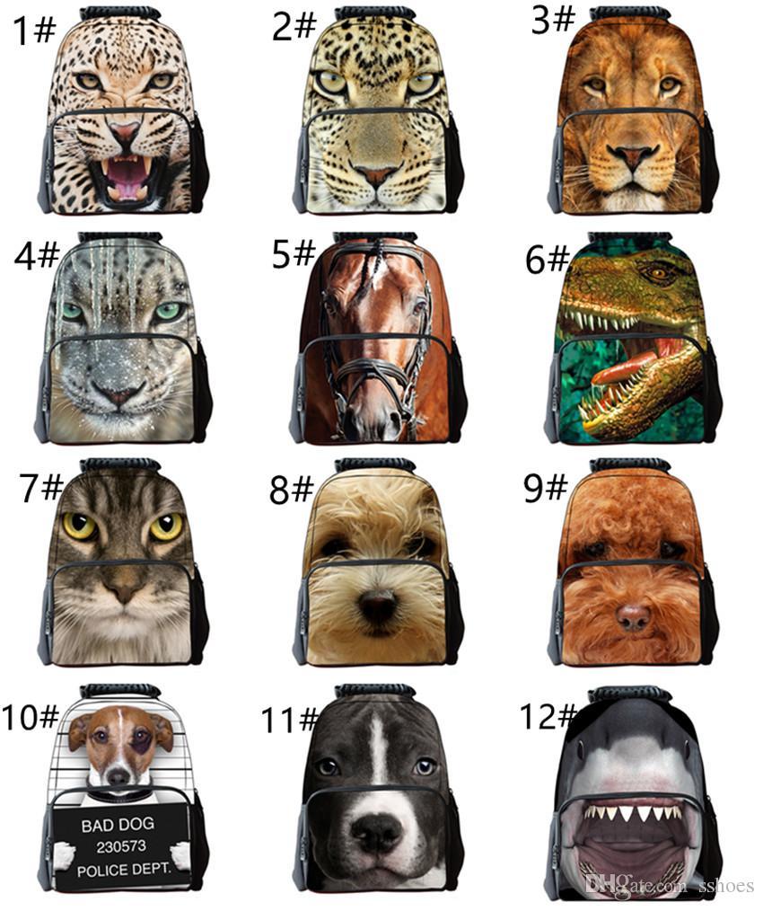 Horse Wolf Tiger Backpack Children Teen Boys School Book Bag Satchel Rucksack