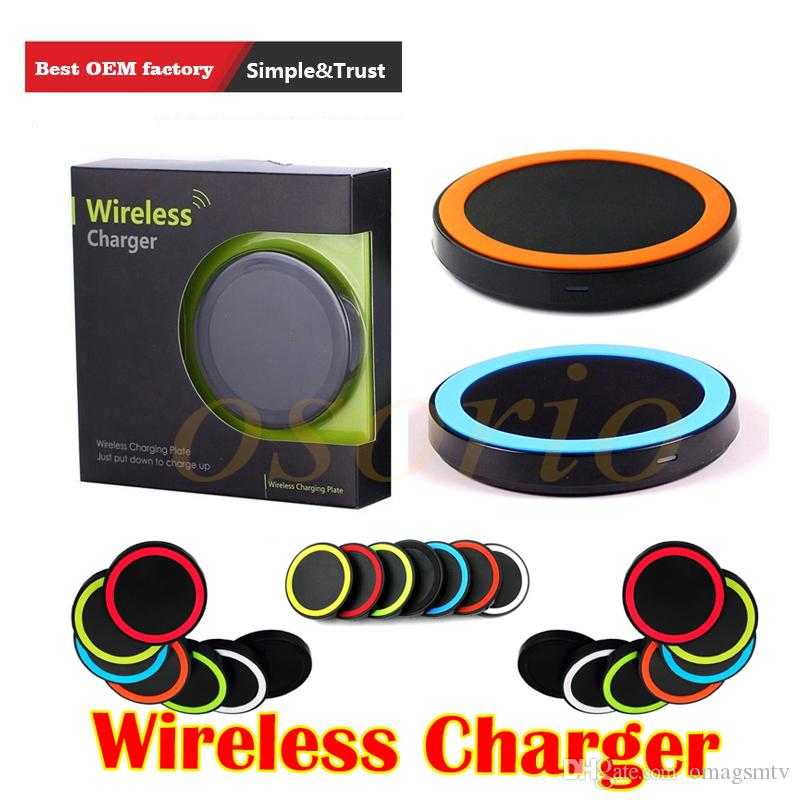 Factory Price Universal round shape and light Qi Wireless Power Charging Charger Pad kit For iPhone and for Samsung with Retail Box