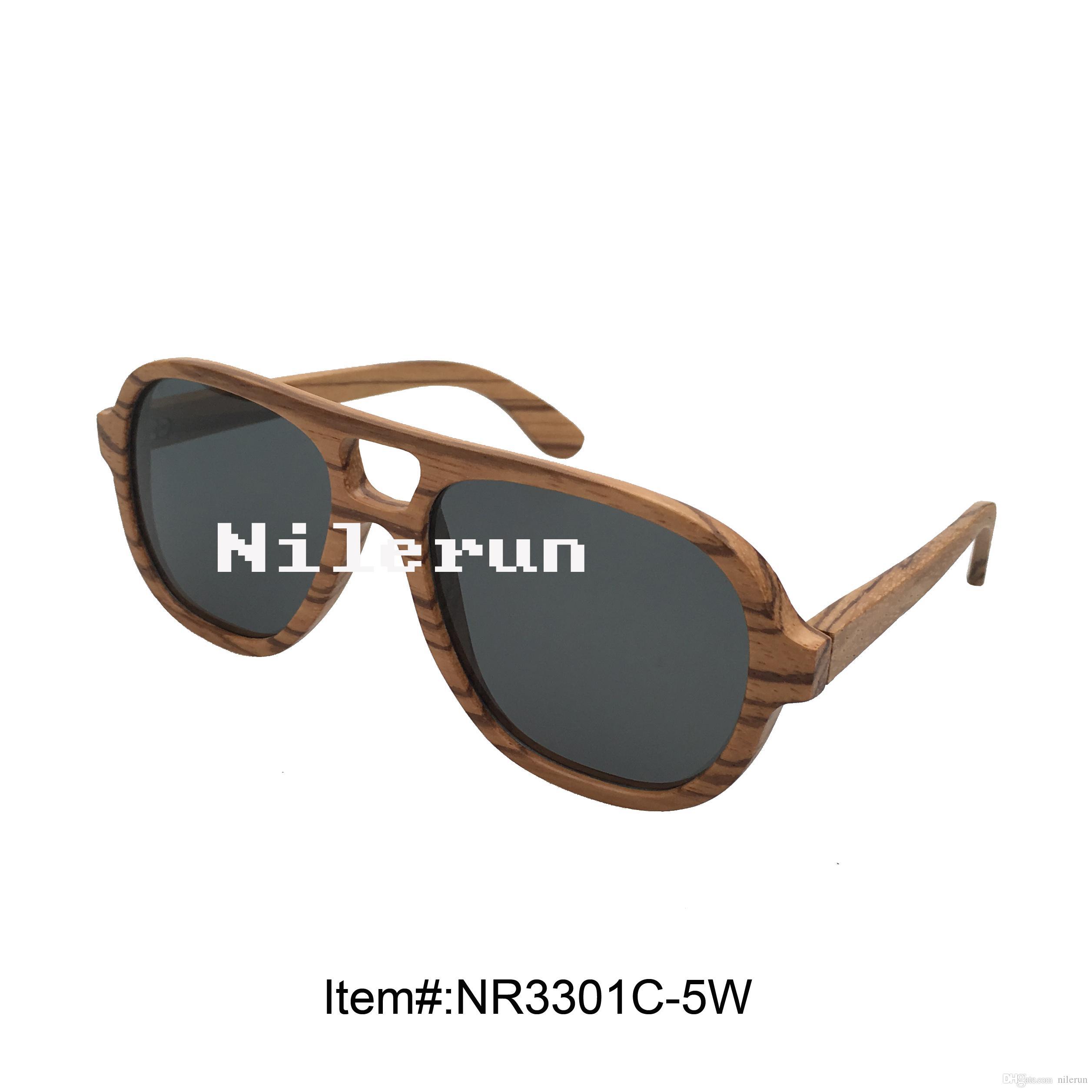 Stilvolle Pilotstil Zebra-Holz-Sonnenbrillen