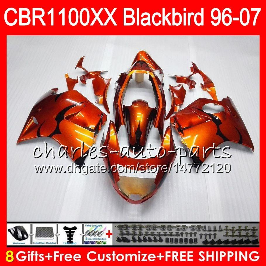 Кузов для HONDA Blackbird CBR1100 XX CBR1100XX 96 97 98 99 00 01 81HM2 оранжевый черный CBR 1100 XX 1100XX 1996 1997 1998 1999 2000 2001 обтекатель