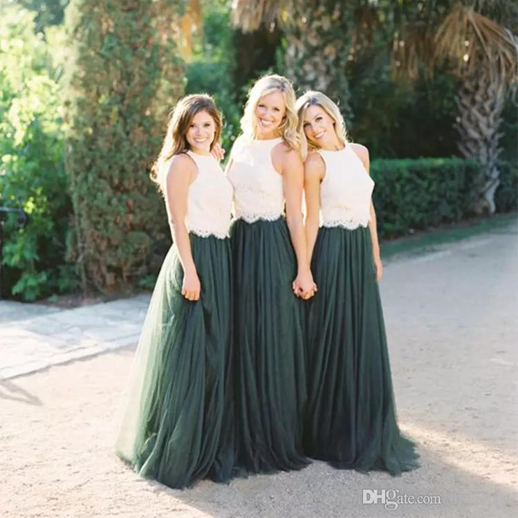 2019 Design Two Pieces Bridesmaid Dresses Jewel Neck White Lace Top A Line Dark Green Tulle Skirt Country Wedding Maid Of Honor Dresses