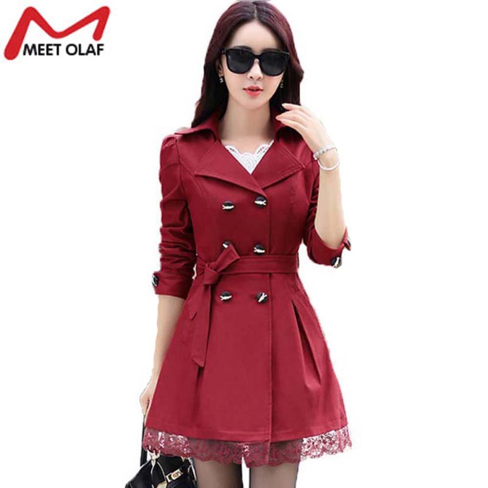 Wholesale- 2017 Women Trench Coat Lace Slim Double-Breasted Trenchcoat Female Casual Windbreaker Outwear Raincoat Plus Size Lady Coats Y015