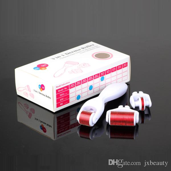 Drop ship 3 in 1 Derma Roller,3 separate roller heads of different needle count 180c 600c 1200c micro needle skin roller