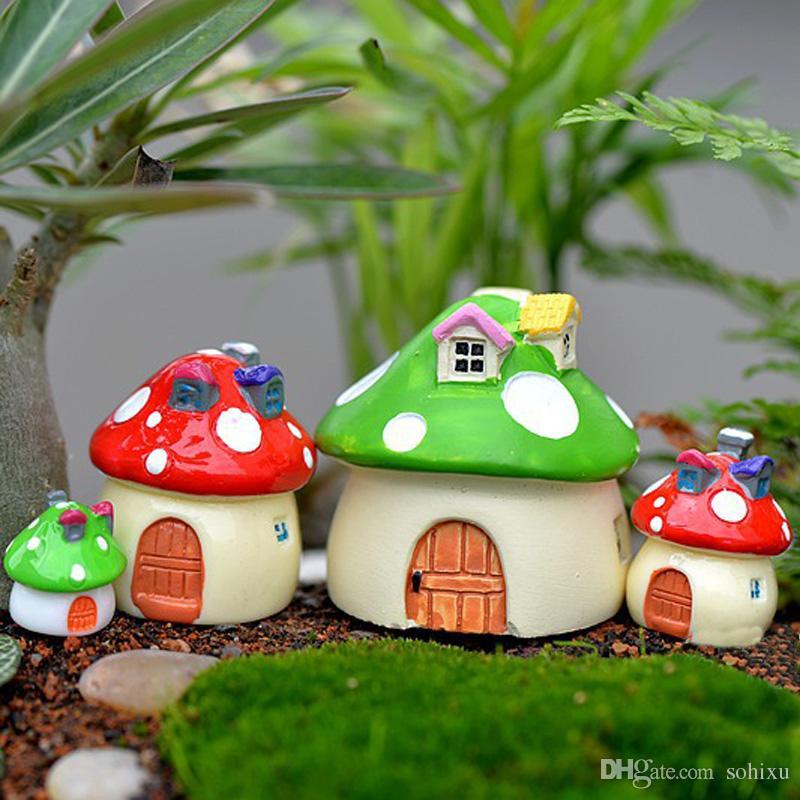 4pcs Mushroom House Cottage Cartoon Zakka Resin Craft Fairy Garden Miniatures Bonsai Tools terrarium Figurines Micro Landscape Jardin Gnomes