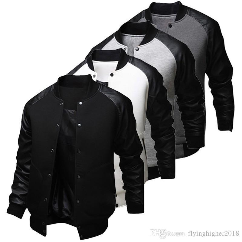 Fashion Mens Fall American Style Varsity Baseball Letterman College University Jacket Coat M-XXL free shipping