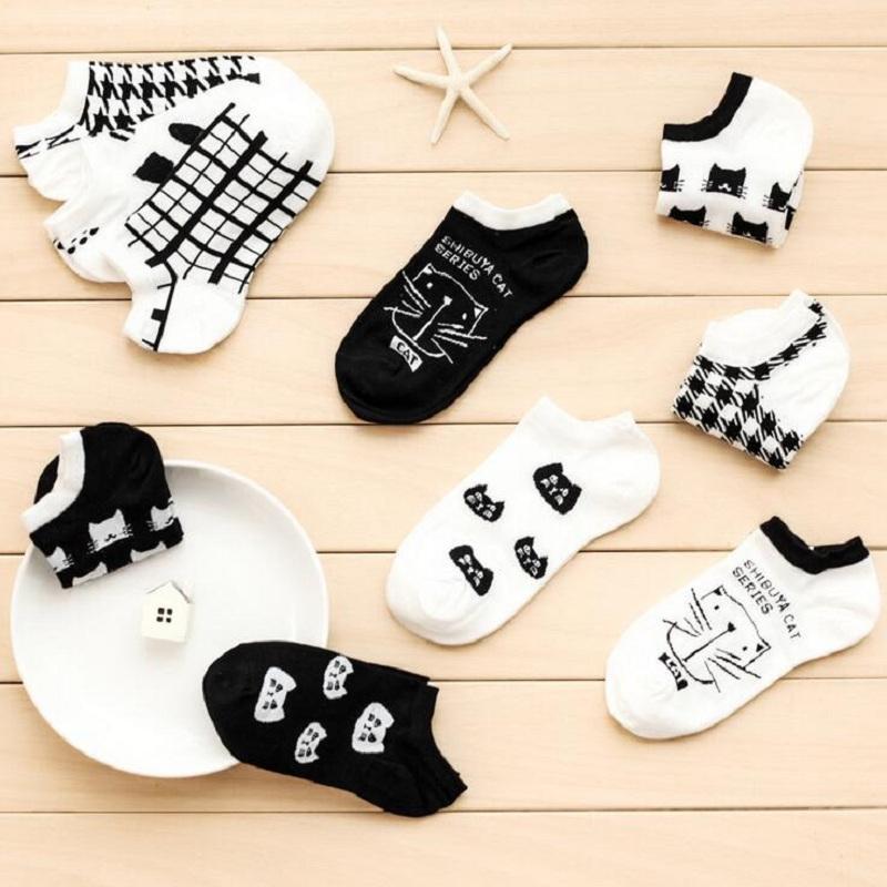 Socken knöcheln Art und Weisebaumwollnette schwarze weiße Katze für Damenmädchen-Frauenfrauen-Frühlingsherbst 20-24.5cm freie Größe