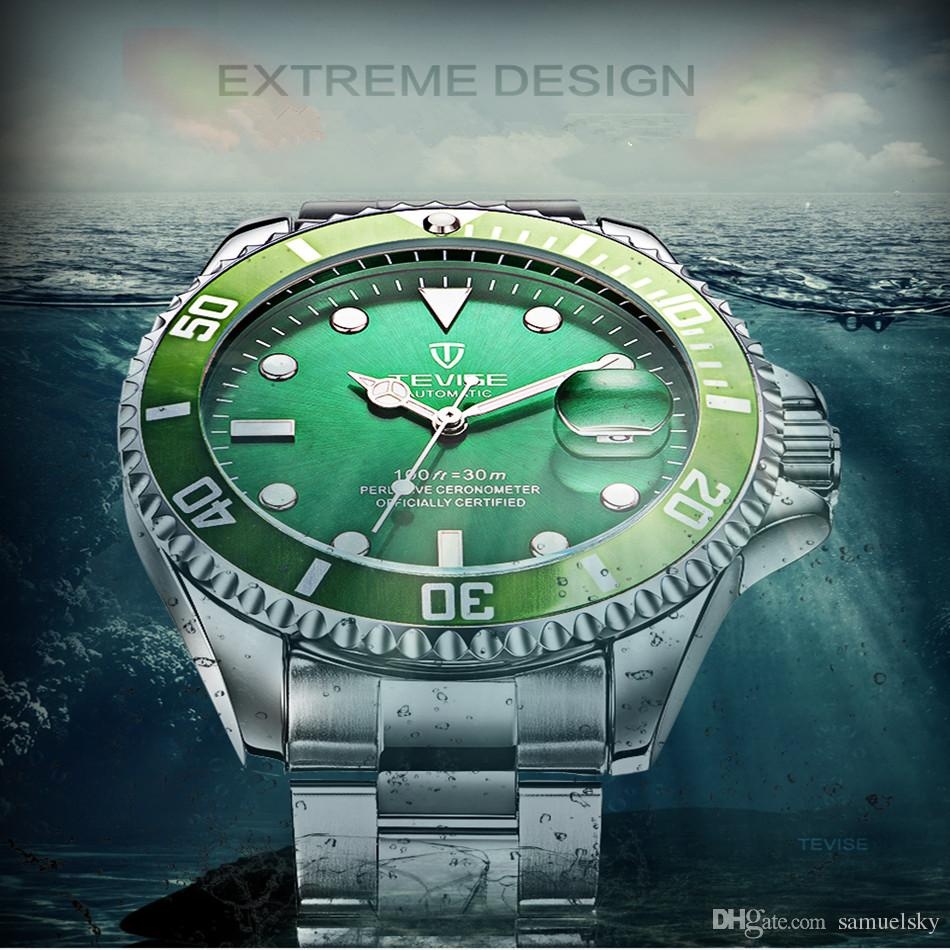남자 클래식 손목 시계 이름 남자 자동 기계 시계 그린 다이얼 달력 남자 전체 철강 비즈니스 손목 시계 선물 상자