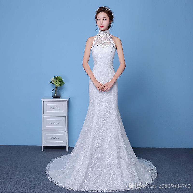 2017 Hanging Neck Simple Wedding Long Tail Self Cultivation New ...