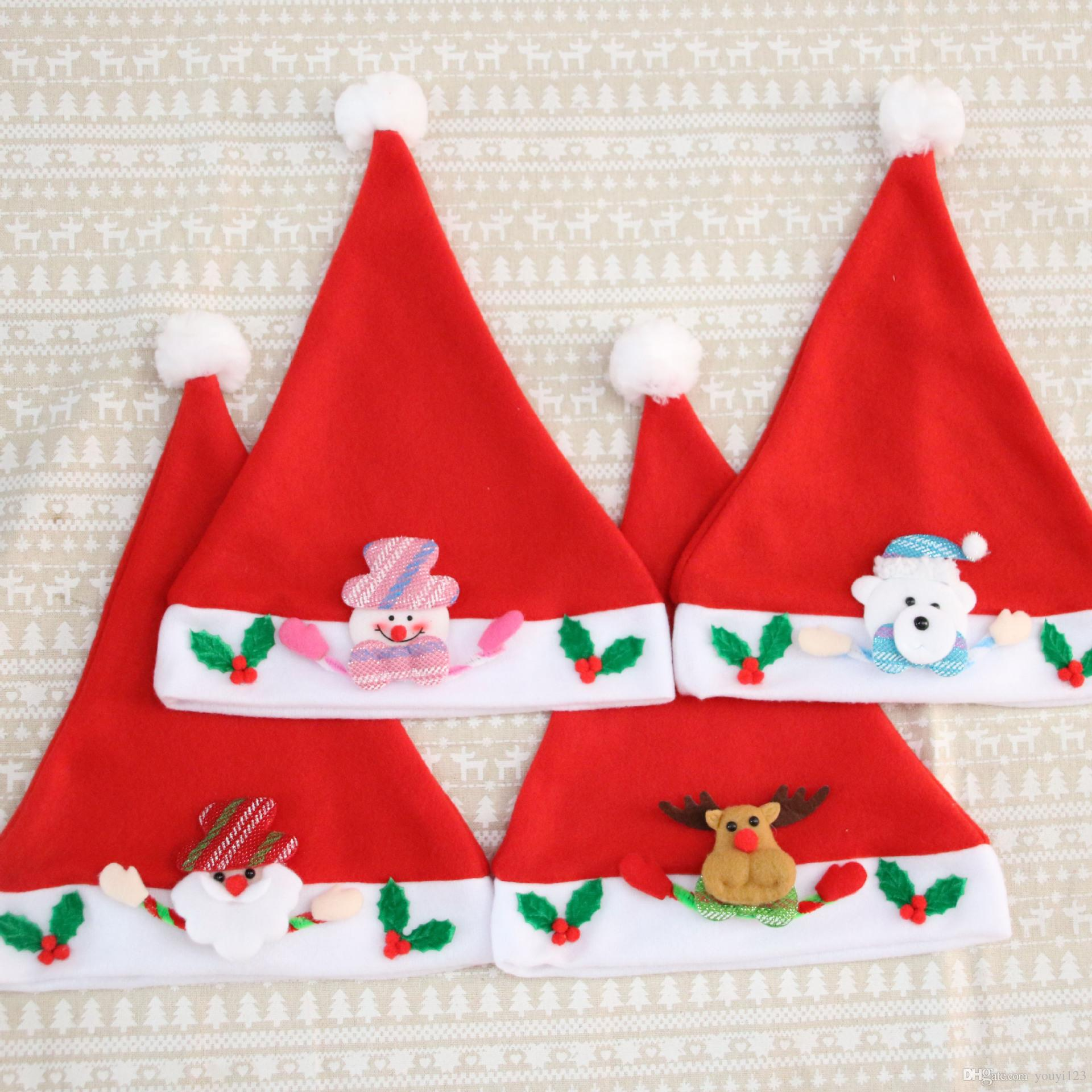 Christmas Hats For Kids.2019 Christmas Decorations Ornaments Christmas Hats 2018 Santa Claus Hat Kids Hats Christmas Gifts Kids Cap Cartoon Cap From Youyi123 Price