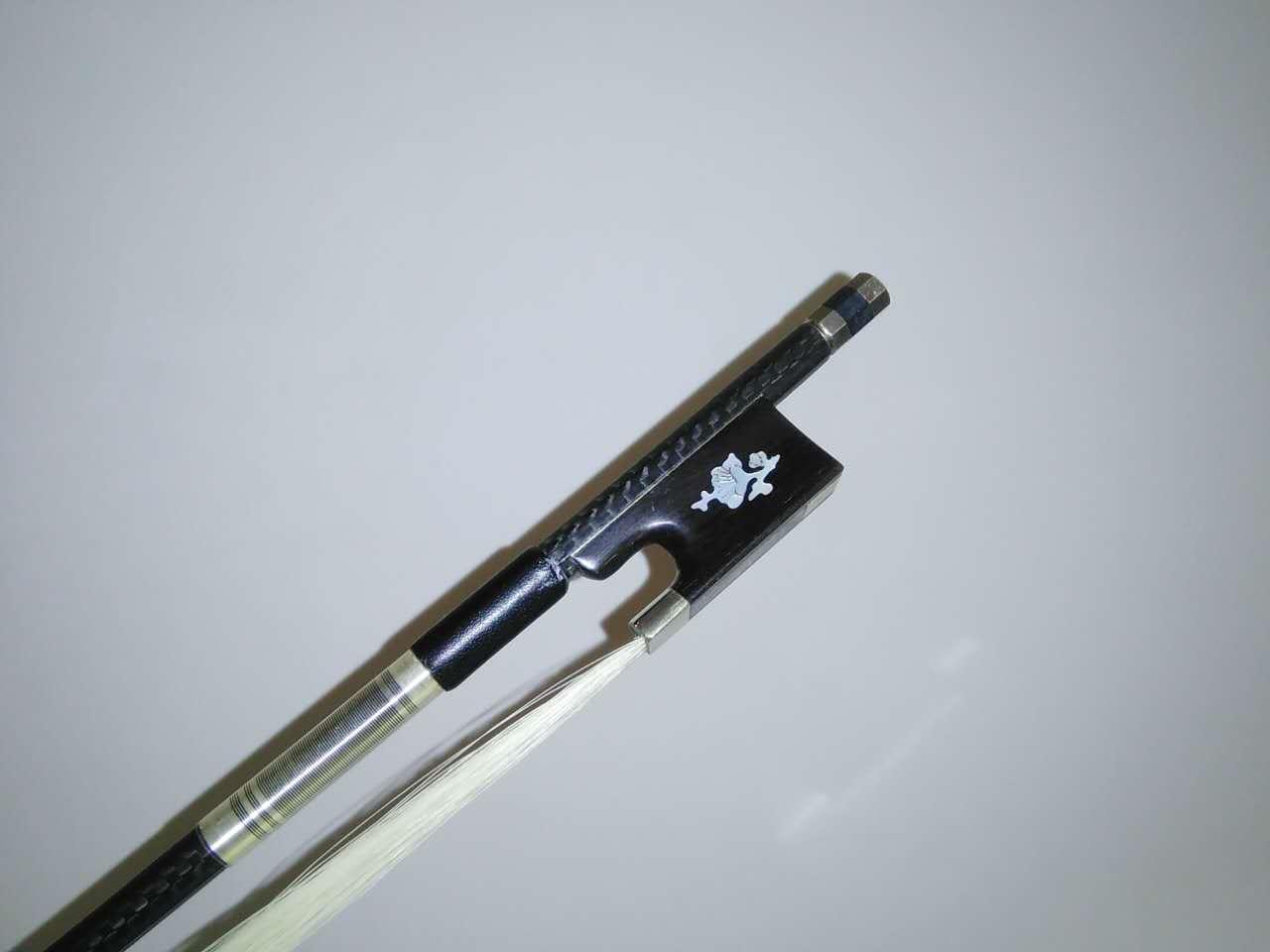 1 PC Qualität Carbon Fiber Violin Bow 4/4 Ebenholz Frosch mit Blume weißes Pferdehaar