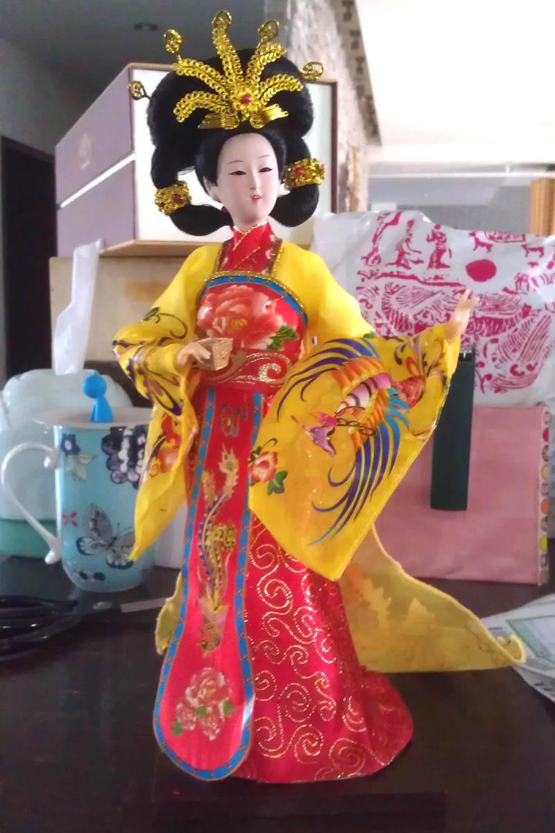 Il popolare copricapo Golden Phoenix autentica Pechino Tang Ren Fang seta pura artigianato ornamenti boutique Yang