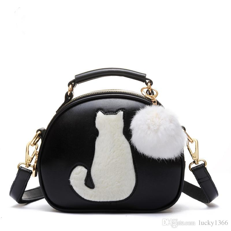 New Women Makeup Bags Crossbody Bag For Women PU Leather Cosmetic Bags Full Moon Candy Color Cute Cat With Fur Ball