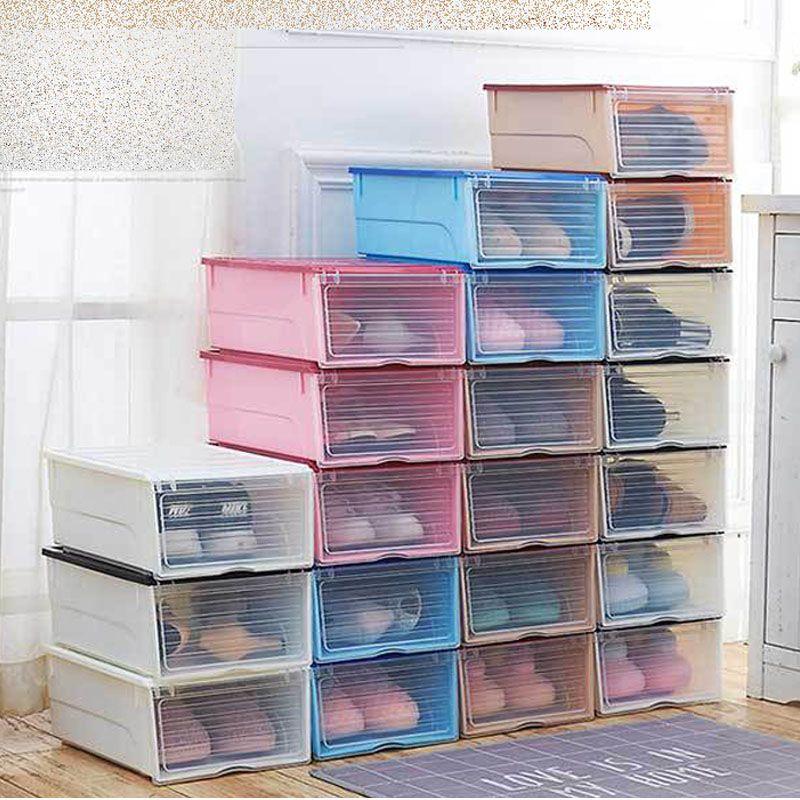 Black White Plastic DIY Shoebox - Shoes Storage Boxes Sneaker Containers Organization - Transparent Shoe Organize Finishing Box