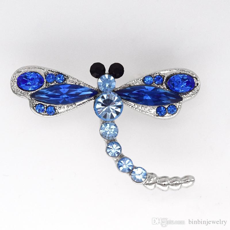 Groothandel Marquise Crystal Rhinestone Dragonfly Mode Kostuum Pin Broche Sieraden Gift C261