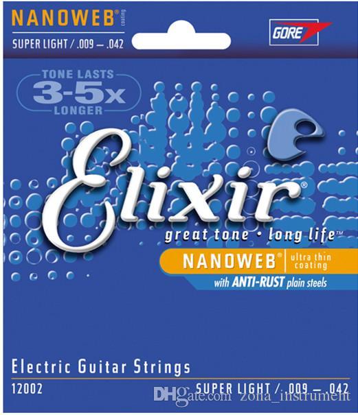 3 مجموعات / وحدة Elixir 12002 nanoweb رقيقة جدا طلاء سلاسل الغيتار الكهربائي سوبر ضوء 009-042 بوصة الشحن المجاني الآلات الموسيقية