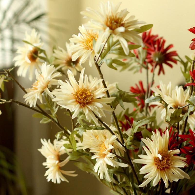 7pcs / lot 다채로운 인공 꽃 실크 데이지 꽃 가짜 꽃 DIY 웨딩 파티 장식 홈 꽃병 장식