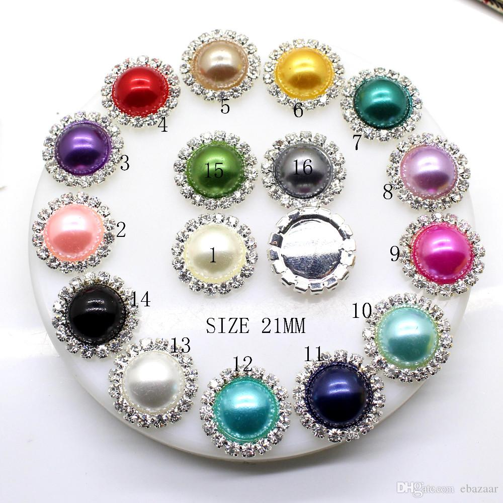 100st 21mm Round Metal Rhinestone Button med Pearl Center Bröllopsinredning Utsmyckningar DIY Tillbehör Fabrikspris