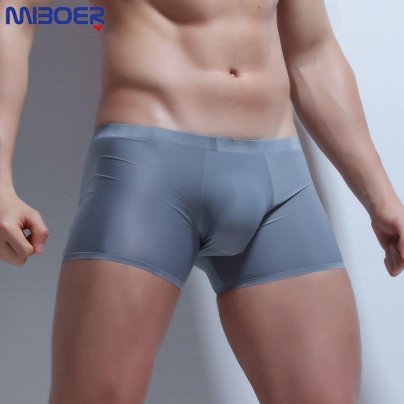 Ice Silk Boxer Sexy Men Transparente Hombres Ropa interior de cintura baja Slip Homme 3XL Cuecas Boxers See Through Mens Underwear Boxers Brand