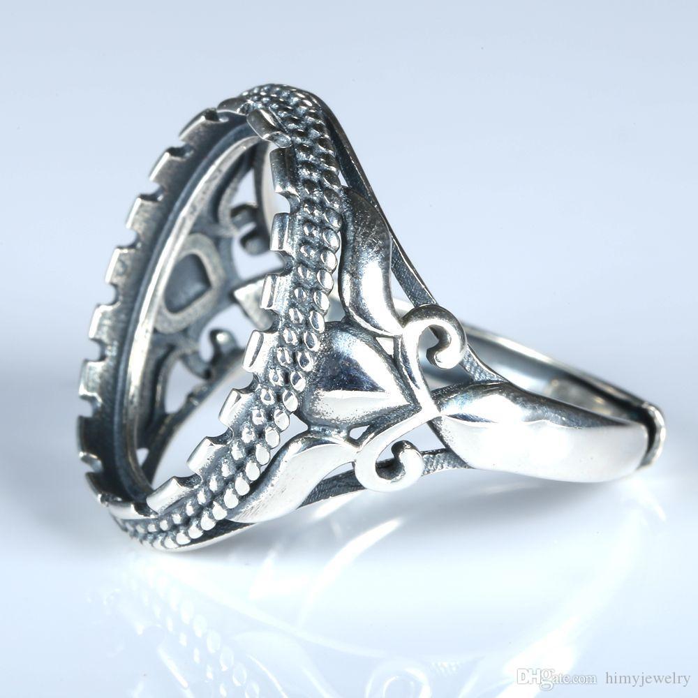 Jugendstil 12x16mm Oval Cabochon Semi Mount 925 Sterling Silber Mode Ring Feinsilber Engagement Hochzeitstag Schmuck