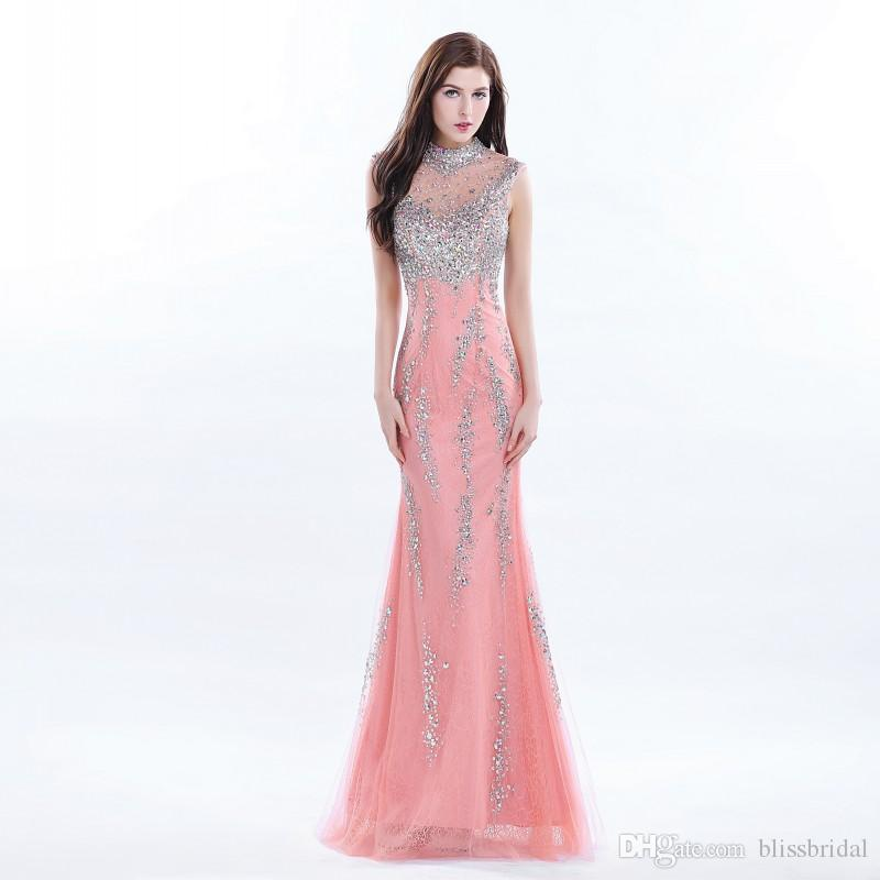 Sparkle High Neck Floor Length Lace Prom Dresses Long Beading Sequins Evening Gowns Sexy Back With Sheer Tulle Chic Party Dress