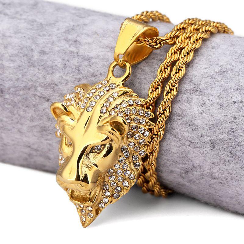 хип-хоп 18k позолоченные оттаявшим королей животных лев головы подвески хип-хоп ювелирные изделия для мужчин женщин лучший подарок ожерелье