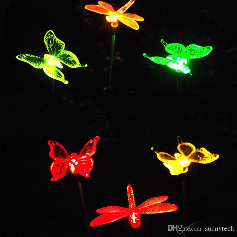 ... Multicolor LED Solar Light Outdoor Dragonfly/Butterfly/Bird Lawn Lamps  Solar LED Path Light ...