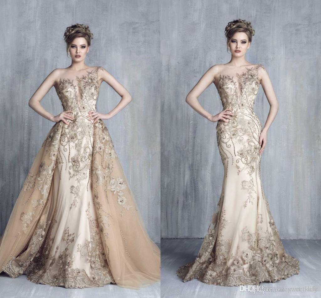 Tony Chaaya Szampan Prestiżowy Kryształ Syrenki Suknie Wieczorowe Z Overckirt 2018 Cap Sleeve Dubai Arabski Odłączany pociąg Prom Party Dress