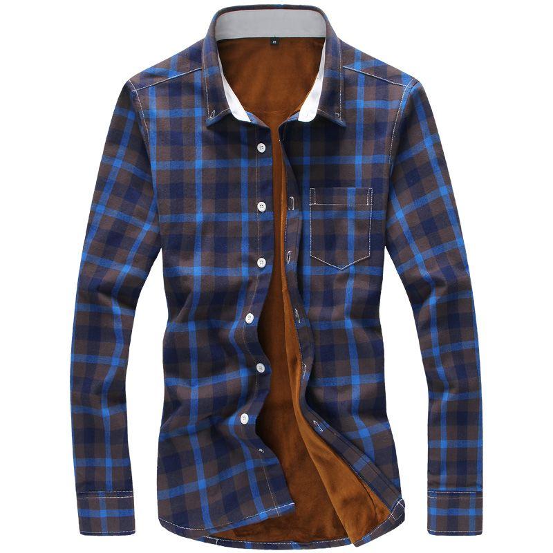 All'ingrosso- 2016 inverno camicie a quadri uomo caldo velluto a maniche lunghe flanella camicie rosso e nero controllare camicie più il formato 5XL Camisa masculina