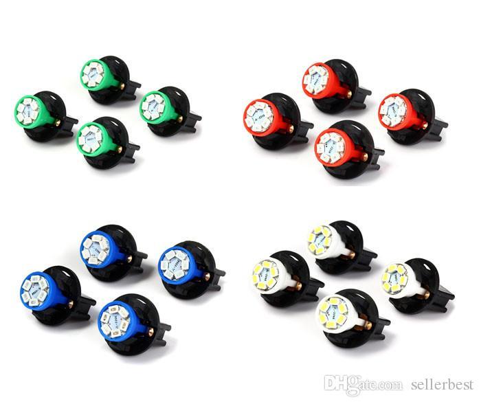4pcs/lot T10 set SMD 1210 6 LEDs LED 0.2W for Vehicle Auto Car Twist Socket Instrument Panel Dash Light Bulb with Blue Green White Red Light