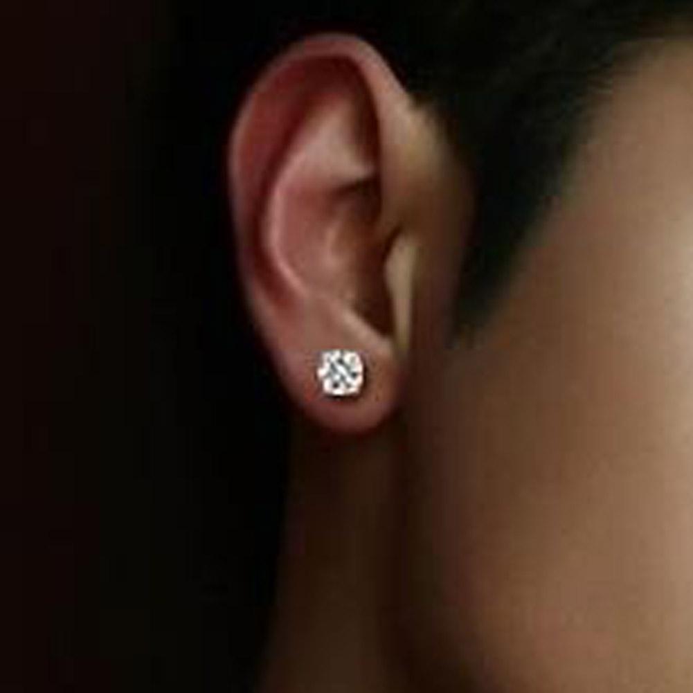 1 Paia New Round Crystal Zircone Magnete magnetico Orecchini a clip Per donna Uomo Punk orecchini polsini dell'orecchio