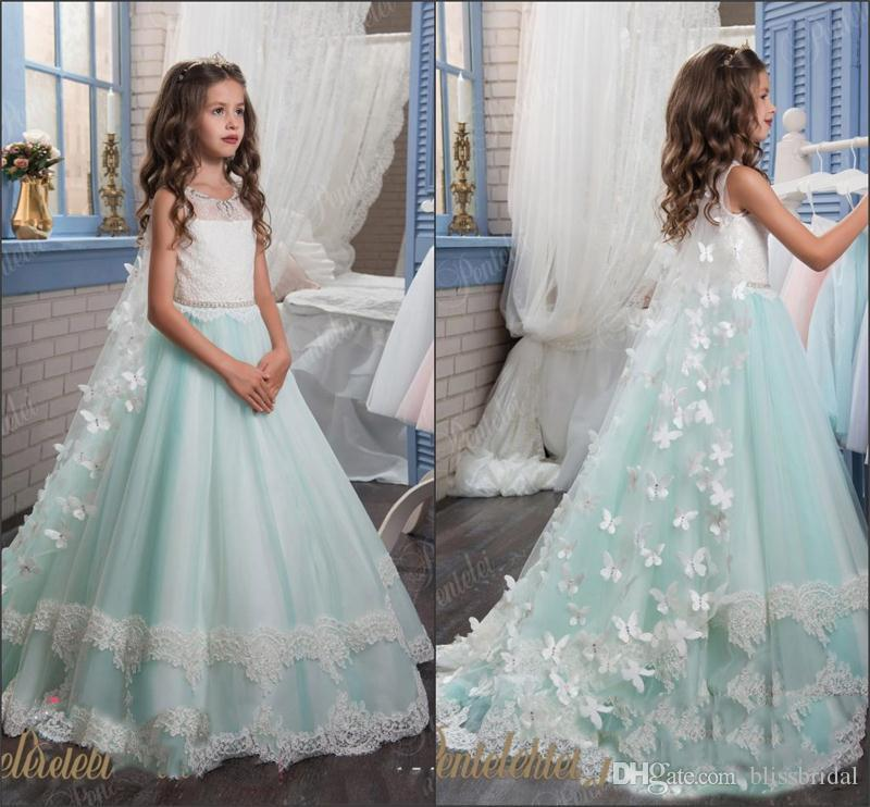 Cute Lace Flower Girls Dresses Backless A-Line Jewel Girls Pageant Dress 2017 White and Blue Floor Length Kids Communion Gowns