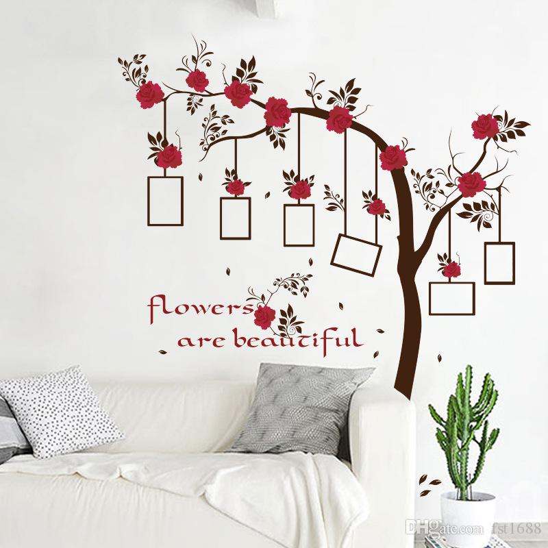 SK9086 Rose Flowers Tree Photo Frame Wall Stickers Tree Branches Wall Decals For Kids Rooms Birds Wall Art Home Decor