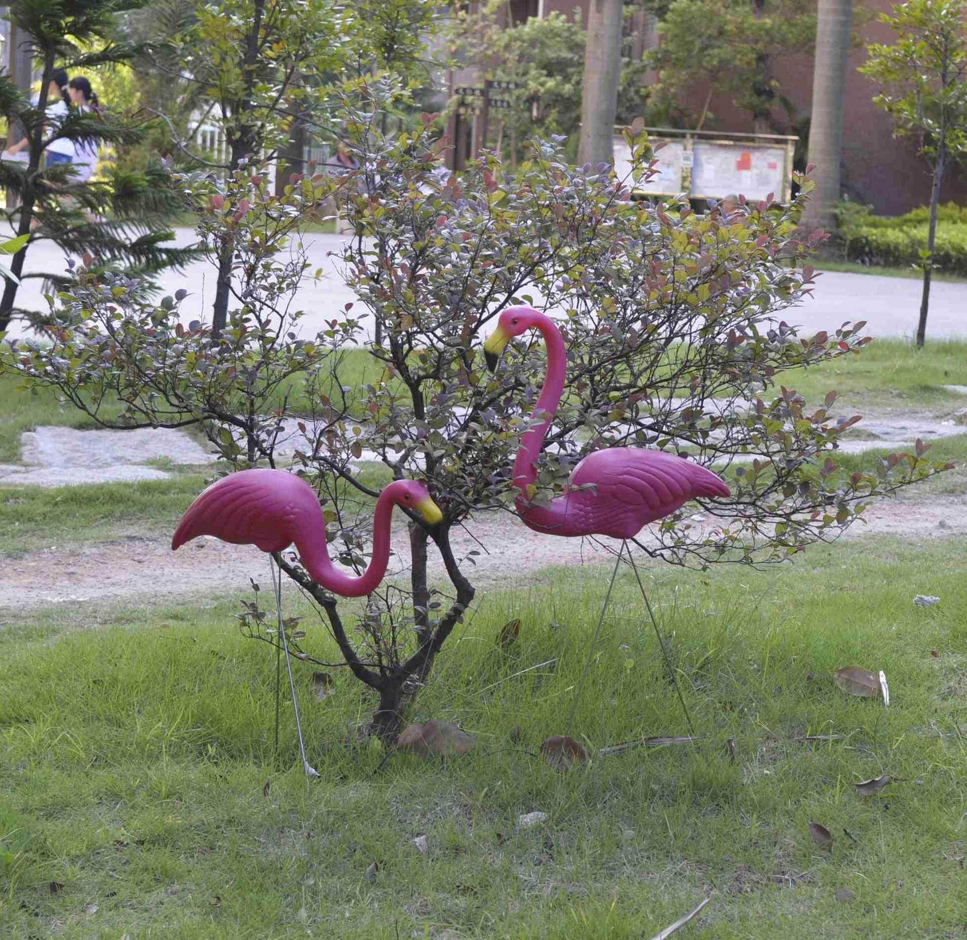 Artificial Flamingo sculpture Garden Courtyard Scenery Decorations ...