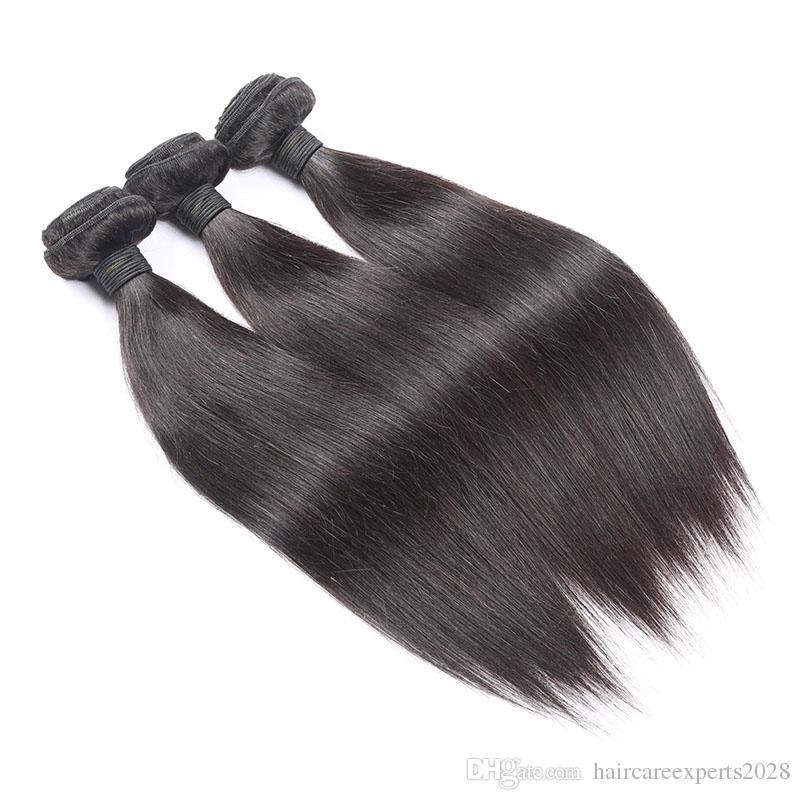 Freies Verschiffen 8A Grade Brasilianisches Reines Haar Gerade 3 teile / los 100 gr / teile Gerade Haar Bundles Natürliche Schwarze Farbe 100% Menschliches Haar