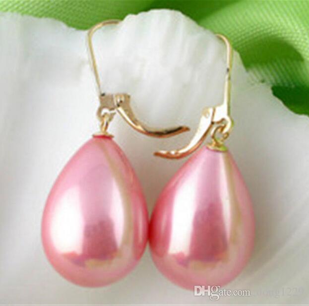 Orecchini pendenti placcati oro rosa placcato in oro 14K con perle dorate 12x16mm. Orecchini 2pz